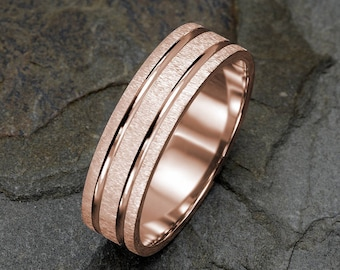 Rose Gold Mens Wedding Ring, Brushed Mens Wedding Band, Grooved Mens Band, 6mm Wedding Band, Mens Ring, Solid Gold Ring, Personalized Ring
