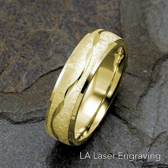 Mens Wedding Band 14k Yellow Gold Wedding Ring Wave Design Etsy