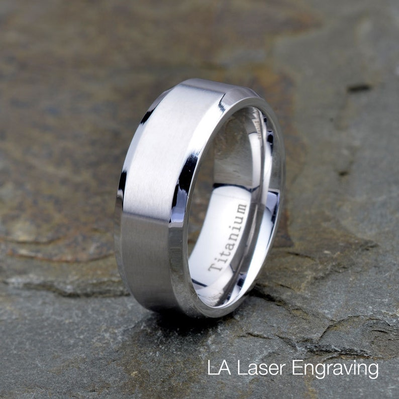 Bridal & Wedding Party Jewelry Titanium Beveled Edge 8 Mm Brushed And Polished Wedding Band