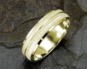 Yellow Gold Wedding Band, 6mm, 14k Gold Ring, Mens Ring, Solid Gold Mens Band, Custom Engraved Ring, Wedding Ring Mens, Yellow Gold Ring