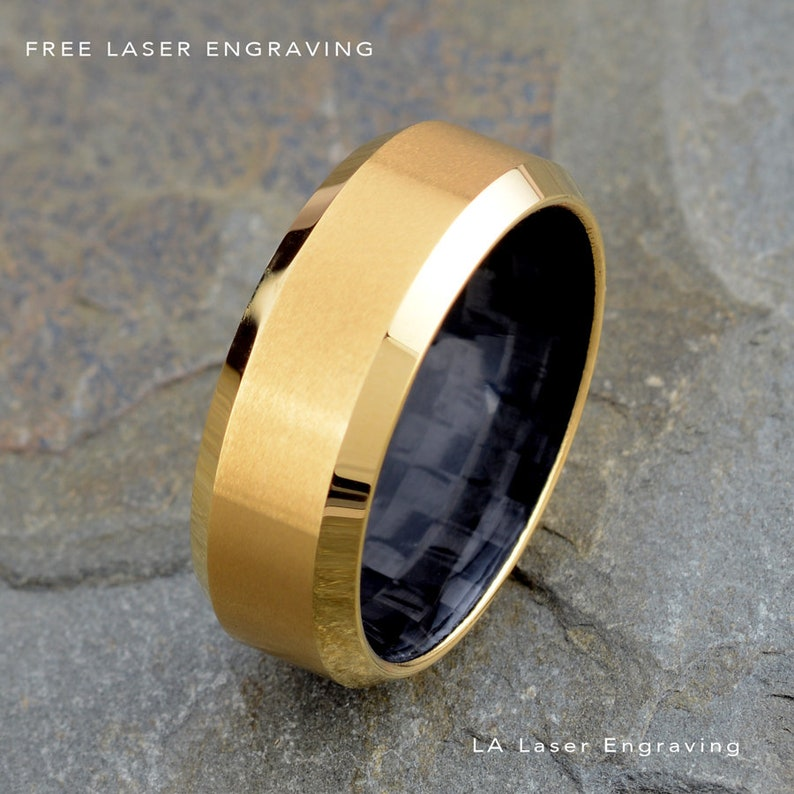 Yellow Gold Tungsten Wedding Ring Brushed Polished Beveled Edges Mens Tungsten Ring Black Carbon Fiber inside the ring Tungsten Carbon Ring