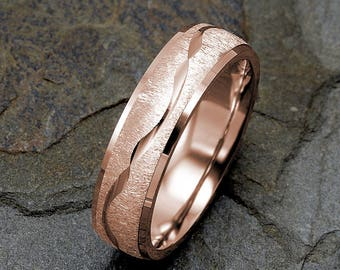 Mens Wedding Band, 14K Rose Gold Wedding Ring, Wave Design around the ring, Solid Gold Band, Mens Ring, Rose Gold Mens Ring, Custom Ring