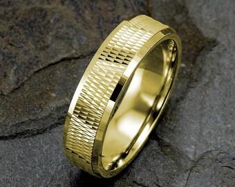Yellow Gold Wedding Band, 14K Gold Wedding Ring, Mens Ring, Solid Gold Mens Band, Anniversary Ring, Custom Engraved Mens Ring, Mens Band