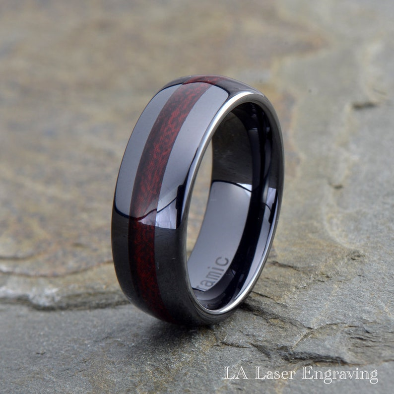 Please E-Mail Sizes 8mm White Ceramic High Polish Domed with Red Carbon Fiber Inlay Wedding Band Ring Sizes 7 to 12