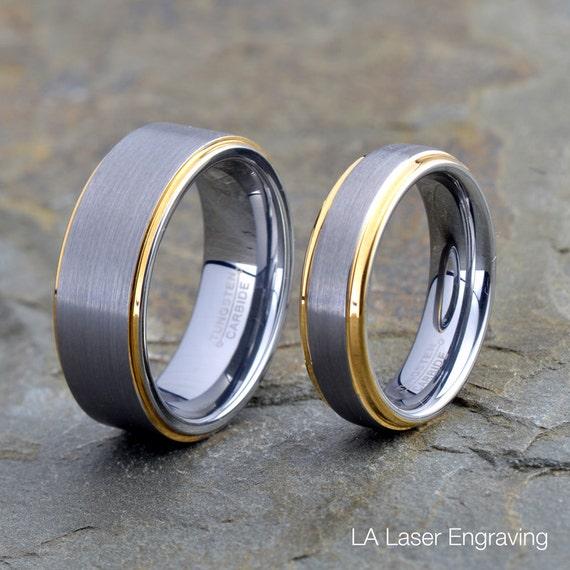 8 mm carbure de tungstène anneau or jaune Tone Center Poli Mariage Bord Bande