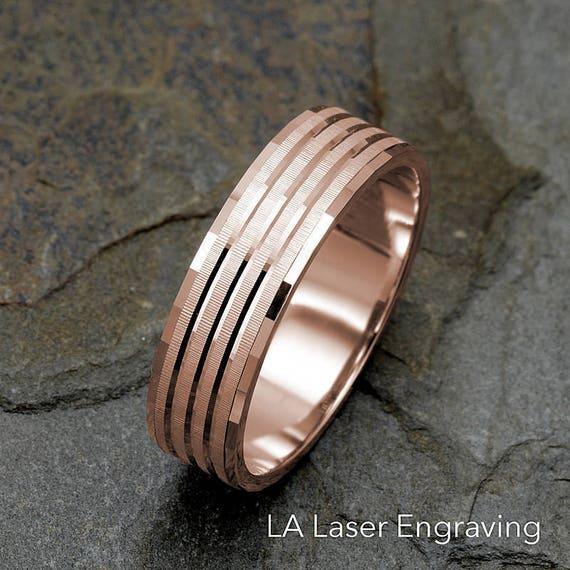 Mens Rose Gold Wedding Rings   Mens Wedding Band Solid Gold Band Mens Ring Mens Rose Gold Etsy