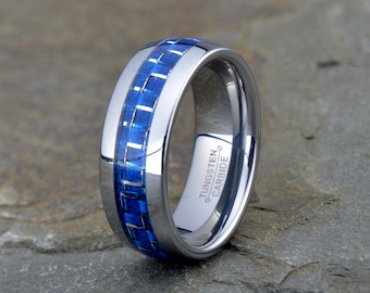 Mens Polished Tungsten Carbide Wedding Band, 8mm, Blue Carbon Fiber inlay, Beveled edge, Anniversary, custom laser engraving, wedding ring