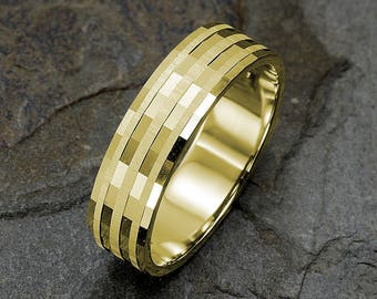 Mens wedding band, 14K Yellow gold, Wedding Ring, Mens Ring, Personalized Mens Ring, 6mm Ring, Solid Gold Band, Custom Engraved Ring