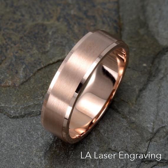 Brushed Wedding Ring 14k Solid Rose Gold Wedding Band Mens Etsy