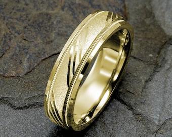 Yellow Wedding Band, Mens Gold Ring, Wedding Bands, Mens Wedding Ring, Mens Gold Ring, 14k Yellow Gold Wedding Band, 6mm Gold Mens Ring