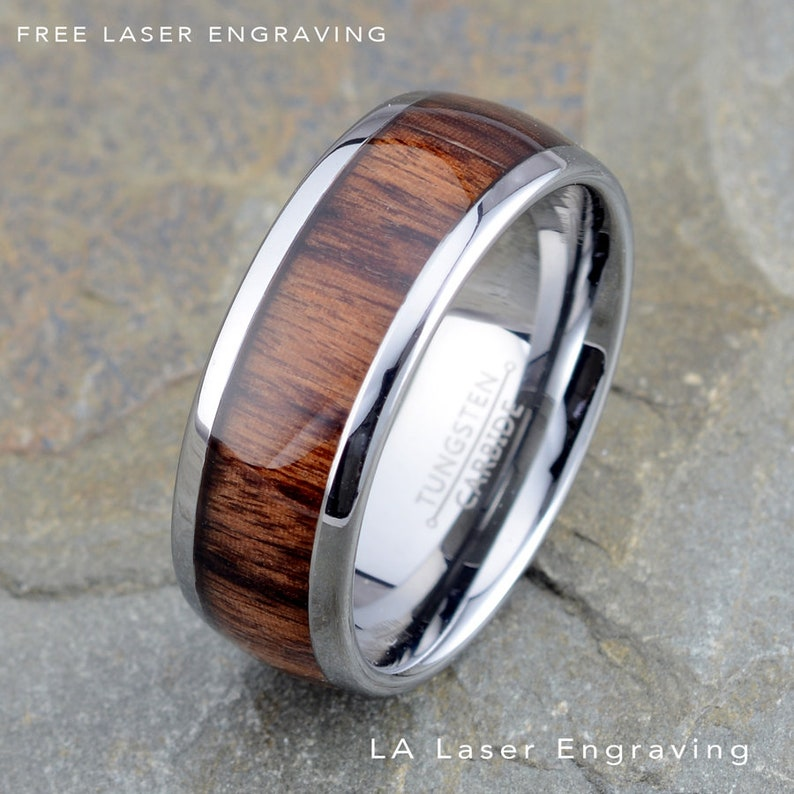 Mens Wedding Band Tungsten Ring Wooden Ring Domed Wooden Tungsten Ring For Mens /& Women/'s Wooden Ring Tungsten with Custom Laser Engraving