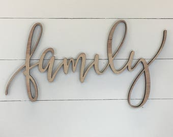 Family Wooden Wall Word Sign Words Wood Art Letters Decor Custom Letter