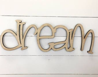 Dream Wooden Wall Word Sign, Wooden Word, Wooden Words, Wooden Wood Art,