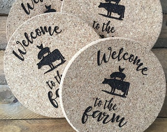 Welcome to the Farm Coasters, Set of 4 Coasters, Cork Coasters, Cork Coaster, Drink Coasters, Custom Coasters, Gift Ideas, Farm Coasters