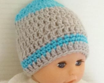 Crocheted wool baby boy hat size 0/3 months baby hand crocheted turquoise and gray - blue