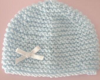 Hat newborn handmade baby boy 0/3 months light blue satin ribbon white