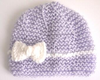 Bonnet laine Naissance Fille violet clair parme lilas 0 3 mois, bonnet bébé  noeud, idée cadeau naissance 1a1b14b164f