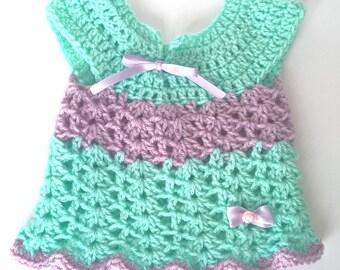 Crochet baby girl dress 0/3 months light green aqua and lilac
