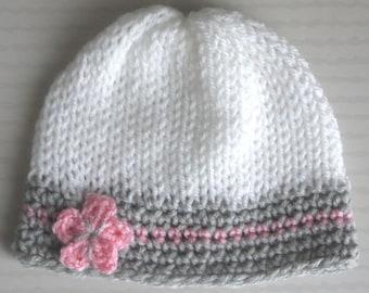2fa2dbd02d59 Bonnet Naissance bébé 0 3 mois Fille Blanc Gris clair Rose fleur