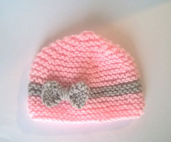 Pink knit newborn baby bonnet 0 3 months pink baby girl gray   Etsy 471694b23c3