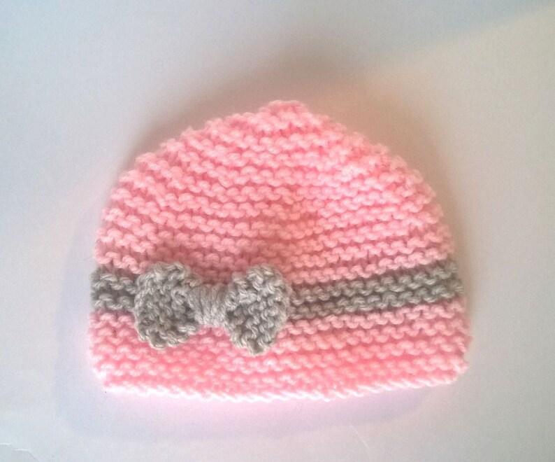 d4cdea6cc7 Bonnet bébé naissance rose tricot 0/3 mois layette fille   Etsy