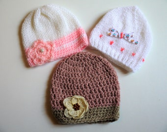 SET baby 3 Hat newborn to 3/6 months, newborn girl set
