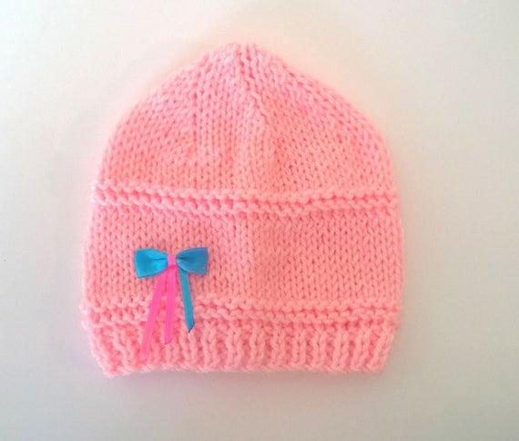 60c648ac85b4 Bonnet Rose Laine 3 6 mois bébé fille maille tricot noeud   Etsy