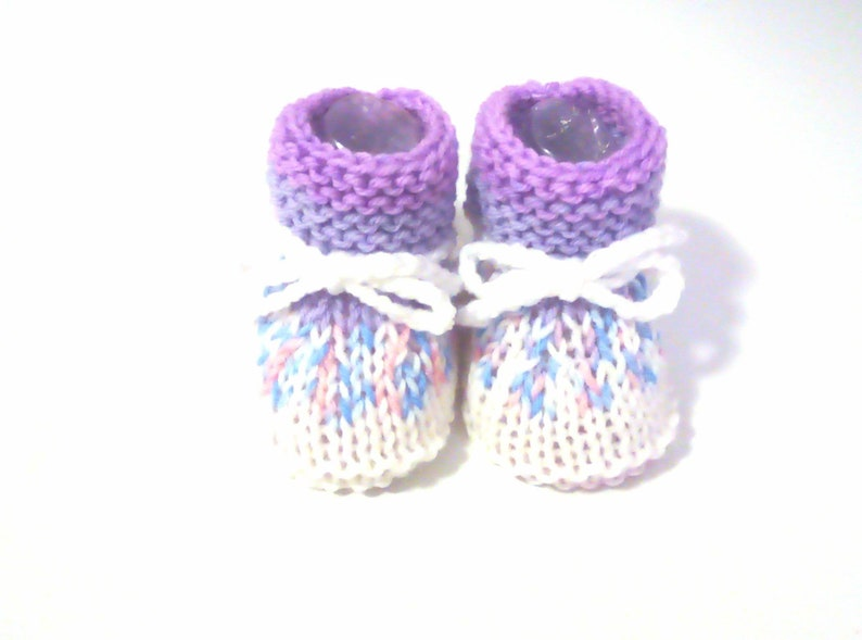 hand knitted in France Baby wool girl slippers
