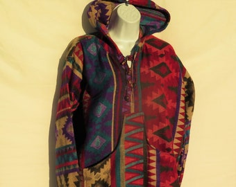 Pullover|3 Button|V-Neck|Hoodie|Bohemian|BoHo|Designer|Tribal|Handmade from a Himalayan Hand Loomed Yak Wool Blend Shawl|X Large|9014