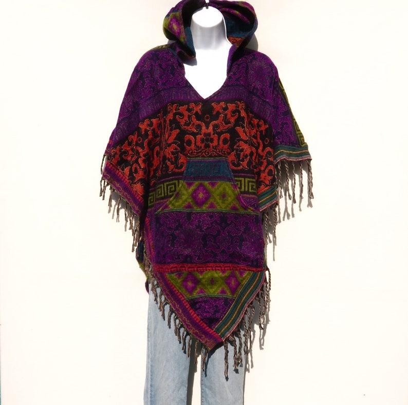 Poncho|Tassels|V-NeckHoodie /& Pocket|Boho|Bohemian|60s|Tribal Design|Hippie|Handmade|Himalayan|Hand Loomed|Yak Wool Blend Shawl|3788