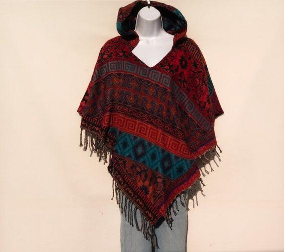 Poncho|Tassel|V-Neck|Hoodie /& Pocket|Boho|Bohemian|60s Designer Style|Hippie|Handmade|Himalayan|HandLoomed|Paisley|Yak Wool Blend Shawl|3829