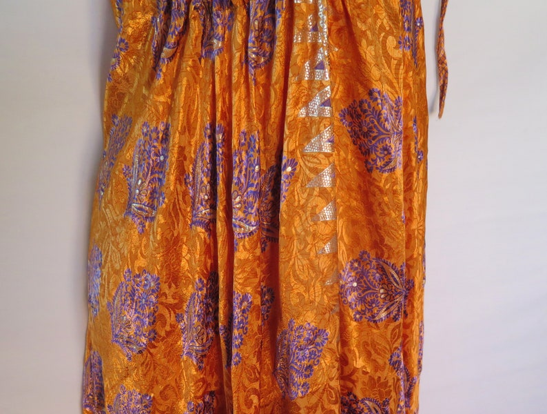 Tropical Sundress Silk Resort Handmade Coverup Summer 0775 Day Evening Wear Multi-Color-Size: S to M