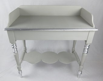 Antique Pine Washstand Painted in Paris Grey with Silver Leaf