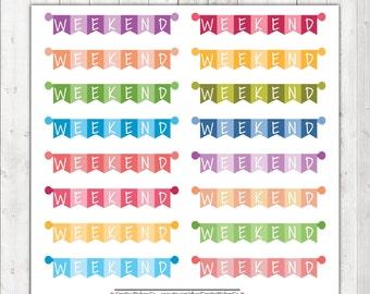 Weekend Banner Planner Stickers, – 1161