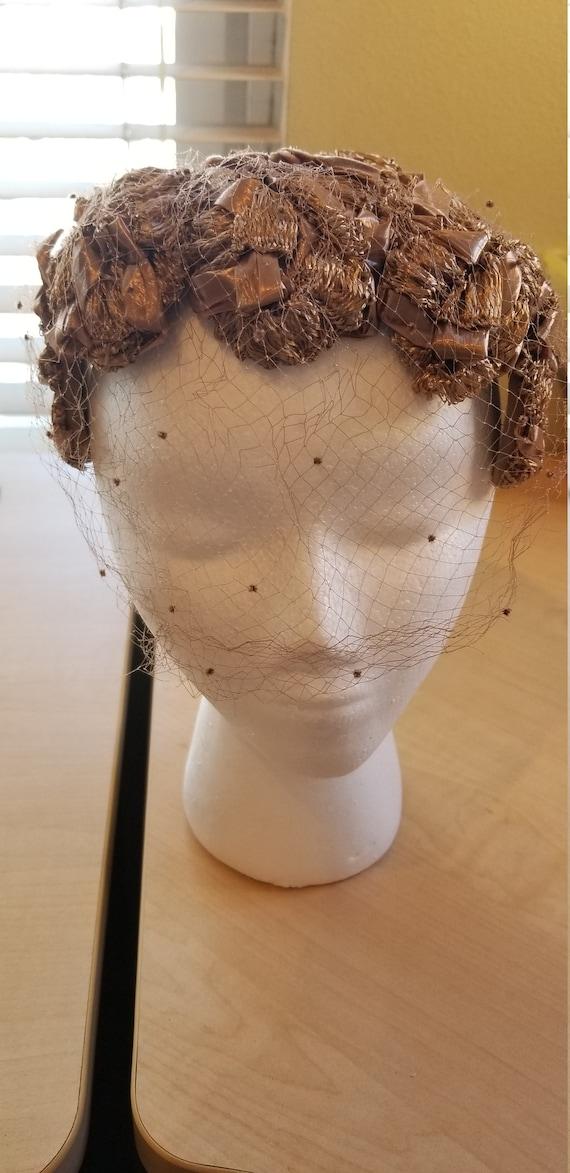 1950's-1960's vintage cellophane straw headband ha