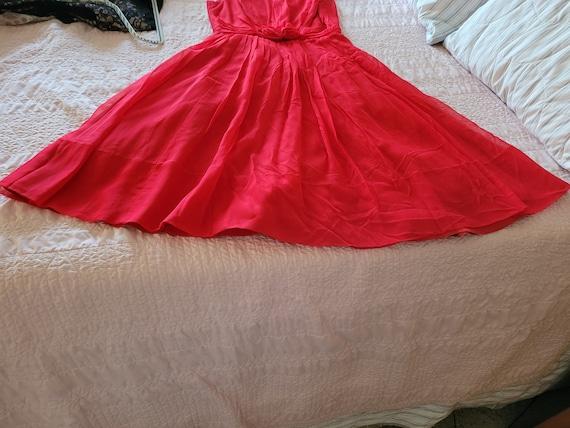 VIntage 1950s prom/formal chiffon red dress - image 5