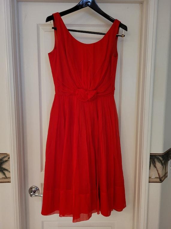 VIntage 1950s prom/formal chiffon red dress - image 1