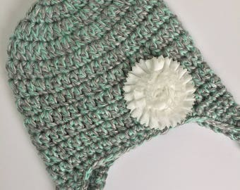 Flower Earflap Hat, Ready to Ship, Baby Girl Hat, Crochet Baby Hat, Crochet Hat, Flower Hat, Earflap Hat, Baby Girl Earflap Hat