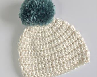 Teal Pompom Beanie, Ready to Ship, Crochet Hat Baby, Baby Boy Hat, Baby Girl Hat, Baby Pompom Hat, Crochet Beanie, Gender Neutral