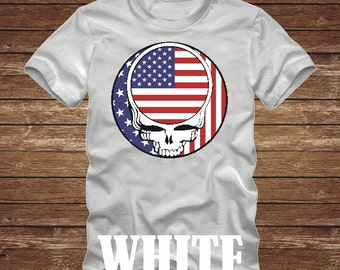 4b0ac76d AMERICAN Flag STEAL Your Face T-Shirt -Many Colors- grateful dead us flag  america patriotic hippie usa skull dead head country 482