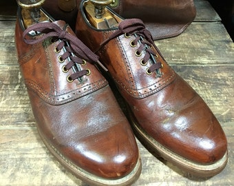 Vintage Dexter Whiskey Brown Leather Men's Dress Shoes Size 9M--Made in the USA