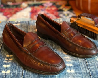 b8bc5e4f3 Vintage Dexter Men s Burgundy Oxblood Leather Penny Loafers Slip On Shoes  Size 10D--Made in the USA