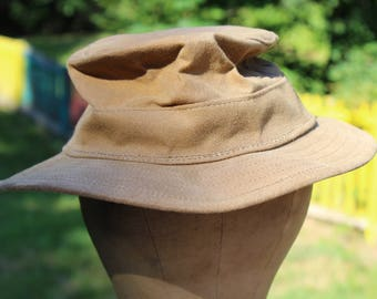 Vintage Filson Waxed Cotton Bucket Hat Tan Khaki Canvas Waterproof Outdoor Fishing Hiking Fisherman  Unisex Size Small--Made In The USA