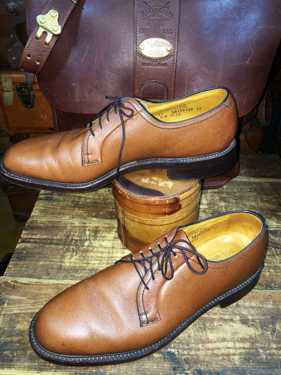 cuir Toe Bostonian robe hommes USA Made Marron chaussures chataigne 11C galets Vintage Plain Derby taille in 1XWqB