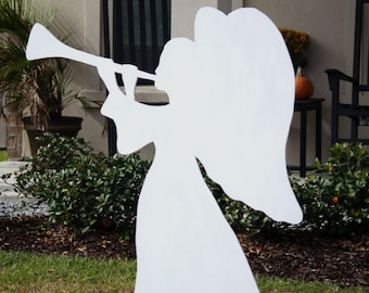 Angel Yard Sign, Wooden Yard Sign, Outdoor Christmas Decoration, Angel Silhouette, Free Shipping