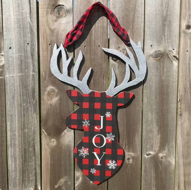 Deer Door Hanger Christmas Door Hanger Christmas Decor Etsy
