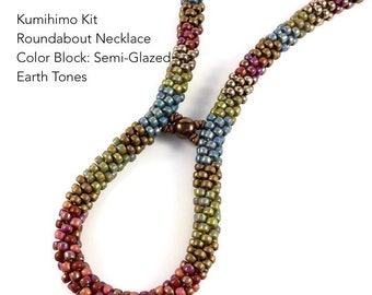 Kit - Kumihimo Roundabout Necklace, Color Block: Semi-Glazed Earth Tones, Kumihimo Tutorial and Supplies