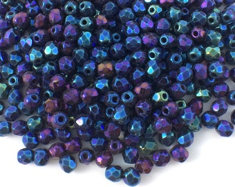 100 pcs 3mm Fire Polished Beads, Jet Blue Iris, Faceted Round Beads