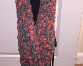 Handmade Knitted Wool Blend Textured Thick Winter Scarf