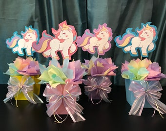 Unicorn Centerpiece Birthday Party Baby Shower Its A Etsy